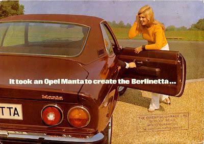 Opel Manta A series Berlinetta Sales Brochure Page 1