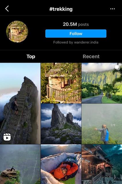 Trekking hashtags for Instagram