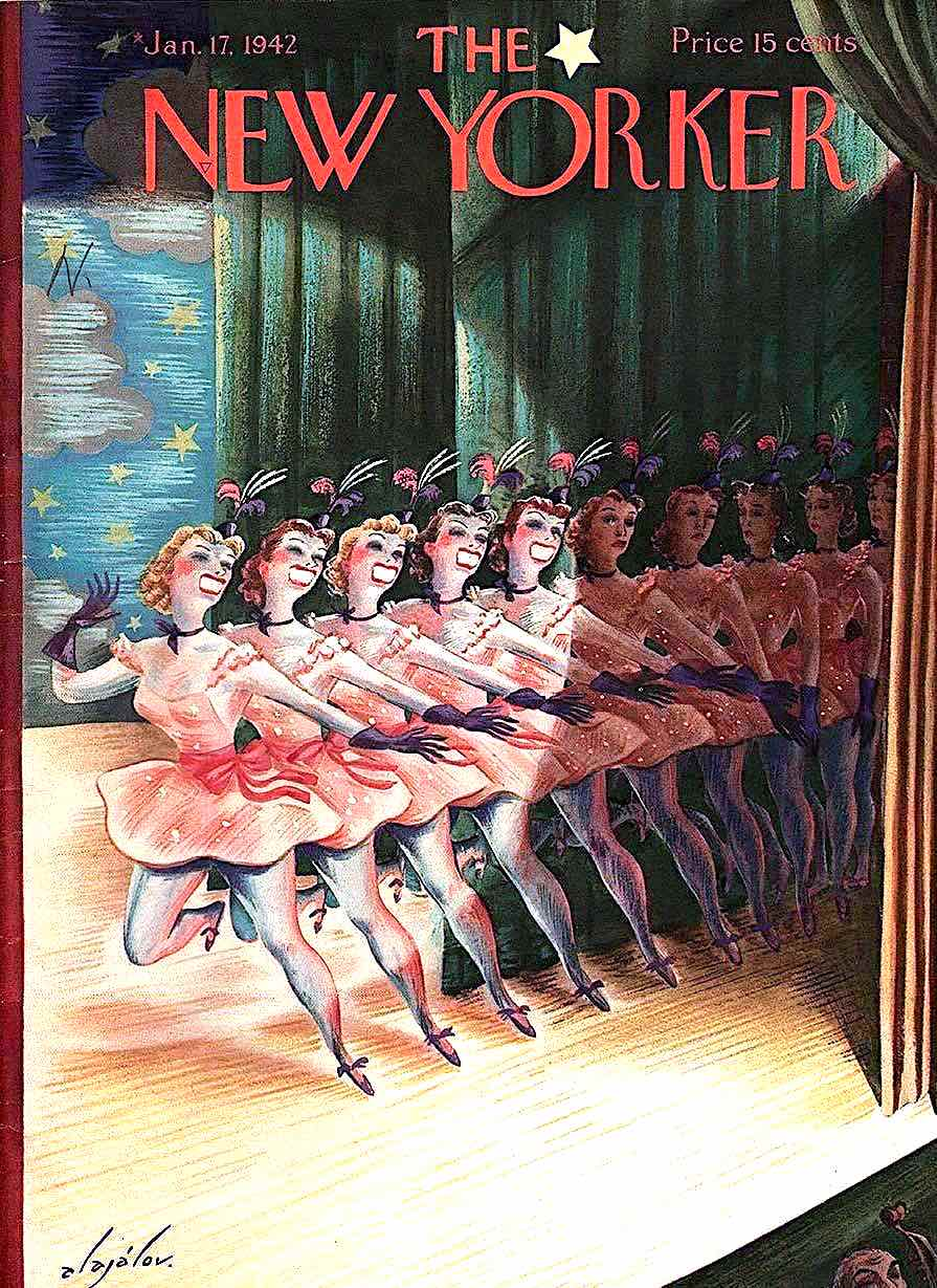 a Constantin Alajalov 1942 illustration for The New Yorker magazine, a chorus line of girls on stage
