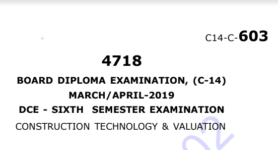 Sbtet Construction Technology & Valution Previous Question Paper c14 Civil March/April-2019