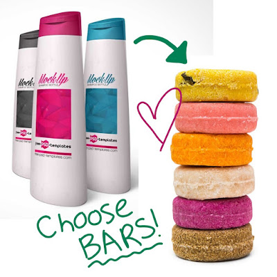 picture of plastic shampoo bottles next to a stack of shampoo bars, suggesting that you should choose the bars over the bottle