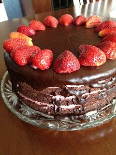 Flourless Chocolate Torte with Strawberry Buttercream