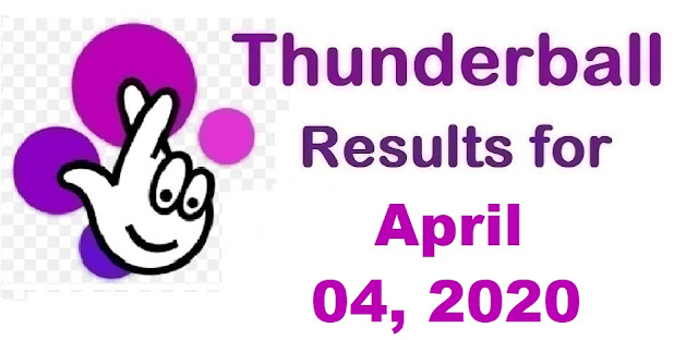 Thunderball Results for Saturday, April 04, 2020