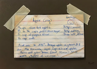 trompe l'oeil painting of a recipe card of apple crisp
