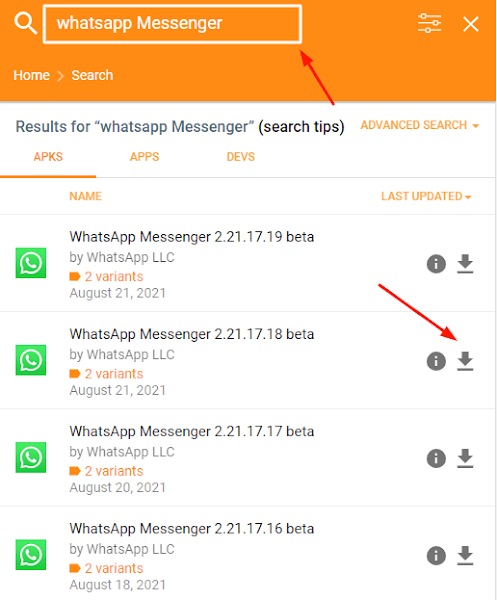Whatsapp Old/Previous Version Download