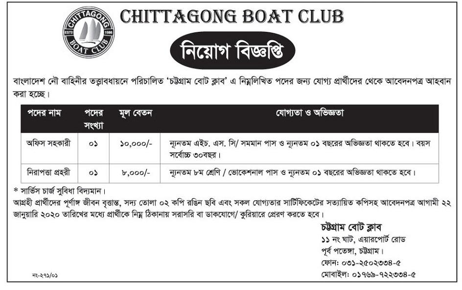 চট্টগ্রাম বোট ক্লাব জব সার্কুলার ২০২০ Chittagong Boat Club Job Circular 2020