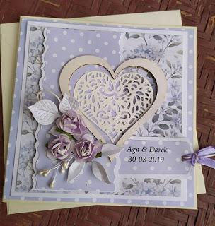 Ślubna kartka w fioletach