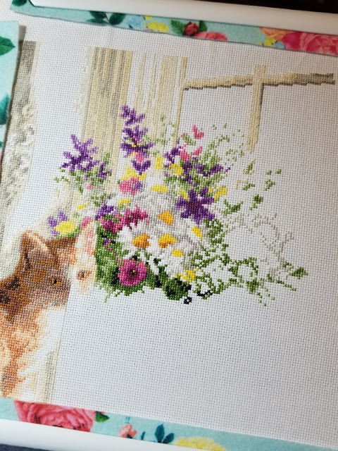 Cross Stitch WIP Kitten