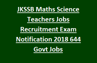 Jammu Kashmir SSBJK Maths Science Teachers Jobs Recruitment Exam Pattern and Syllabus Notification 2018 644 Govt Jobs Online