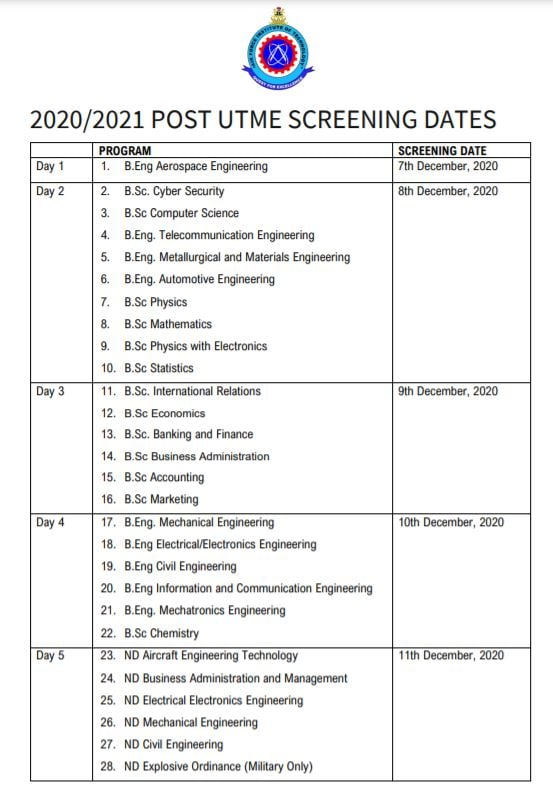 AFIT Post-UTME Screening Timetable 2020/2021 | ND & Degree