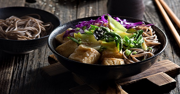 Ginger-Glazed Bok Choy With Tofu And Noodles Recipe