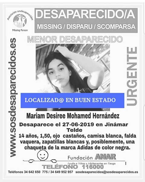 Localizan en buen estado a Mariam Desirée Mohamed, menor de 14 años que  estaba como desaparecida en Jinámar, Telde
