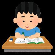 机で勉強をする生徒のイラスト(男子)
