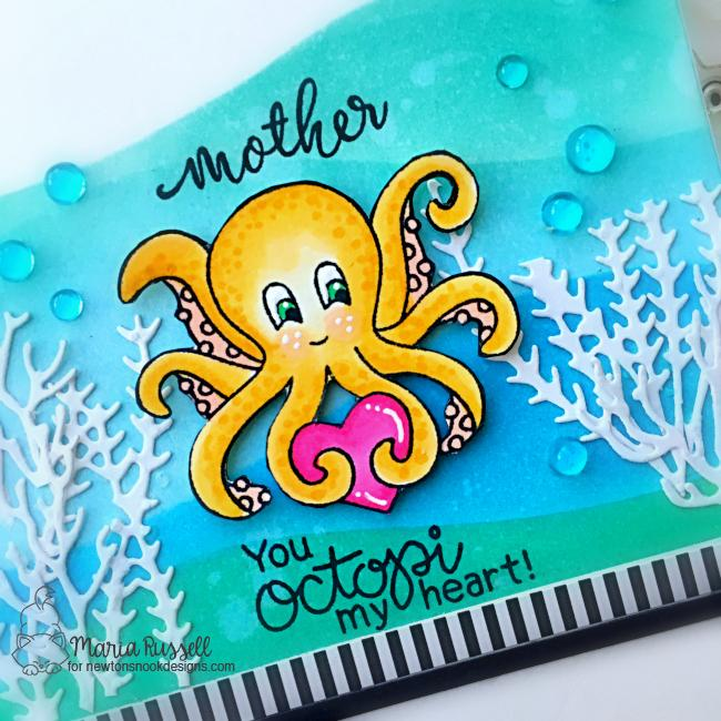 Sea Themed Mother's Day Card Duo by Maria Russell | Tides of Love Stamp Set, Lovely Blooms Stamp Set and Hills & Grass Stencil by Newton's Nook Designs #newtonsnook #handmade