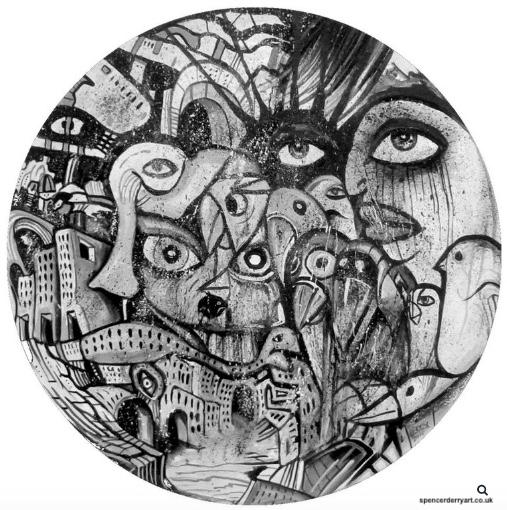 Artwork painted on 180 gram vinyl record. Media: Acrylic.
