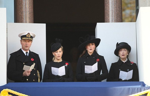 Sophie, Countess of Wessex, Kate Middleton, Prince William, Prince Harry, Princess Anne, and Queen Elizabeth