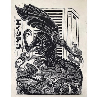 Alien Queen Linocut Print by Attack Peter