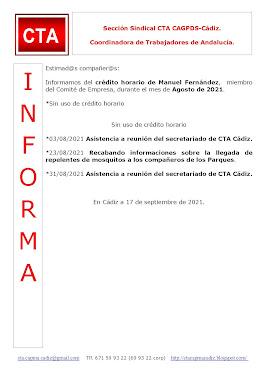 C.T.A. INFORMA CRÉDITO HORARIO MANUEL FERNANDEZ, AGOSTO 2021