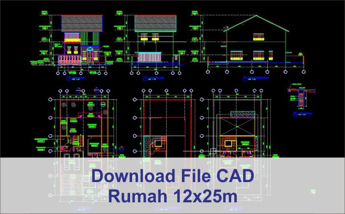 download rumah 12x25 File AutoCad