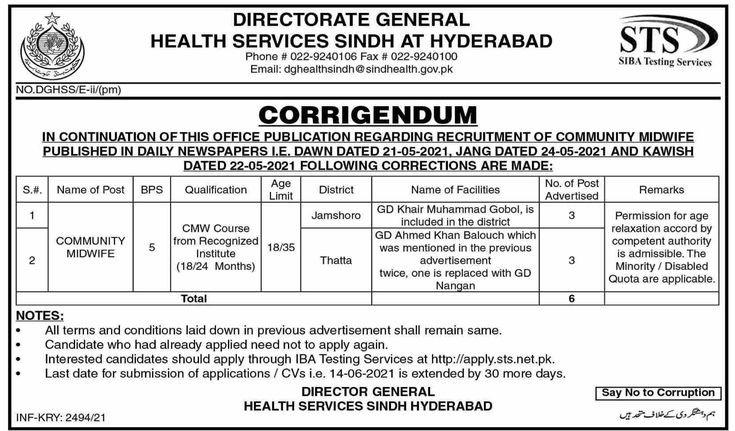 Health Services Sindh Jobs 2021 Hyderabad Via STS Siba Testing Service