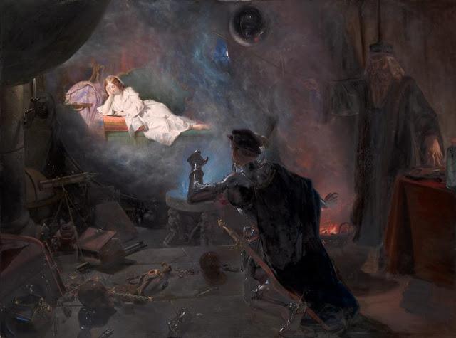 "Artwork, XIX century art, watercolours, ""The magic mirror"" by Edward Henry Corbould, 1853."