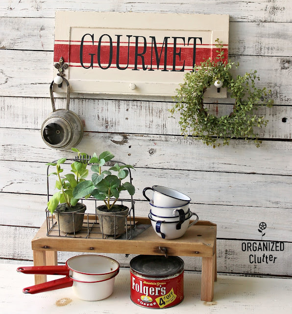 Garage Sale Cabinet Door Gourmet Kitchen Sign/Wall Hooks #grainsackstripe #oldsignstencils #stencil #primamarketing #deliciousmenu #upcycle #repurpose #hobbylobbyhooks #garagesalefinds #cabinetdoorideas #farmhousekitchen
