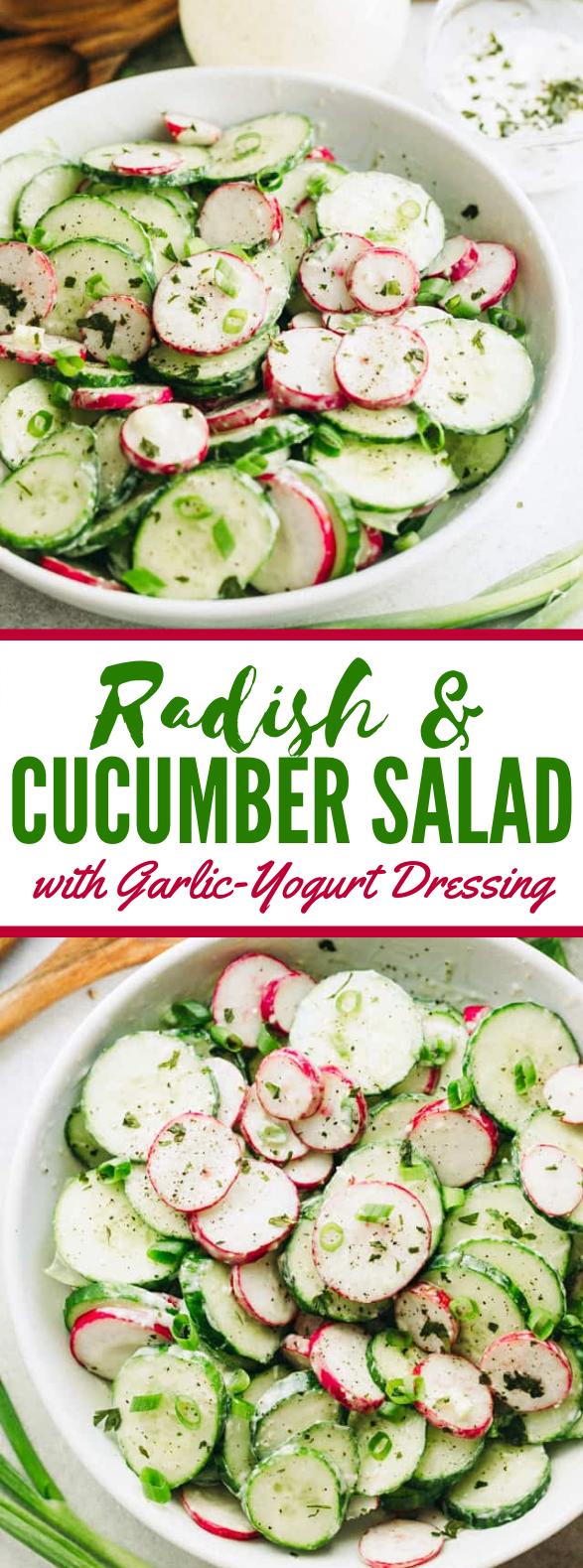 Radish and Cucumber Salad with Garlic-Yogurt Dressing #vegetarian #diet
