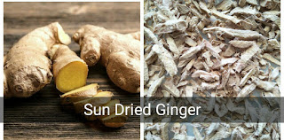 Dried ginger are fresh ginger dried under direct sunlight.