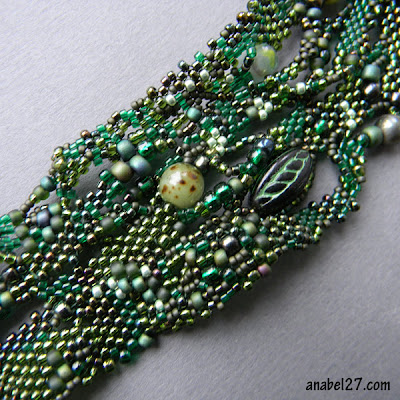 freeform peyote beading bracelet free form green jewelry beadwork