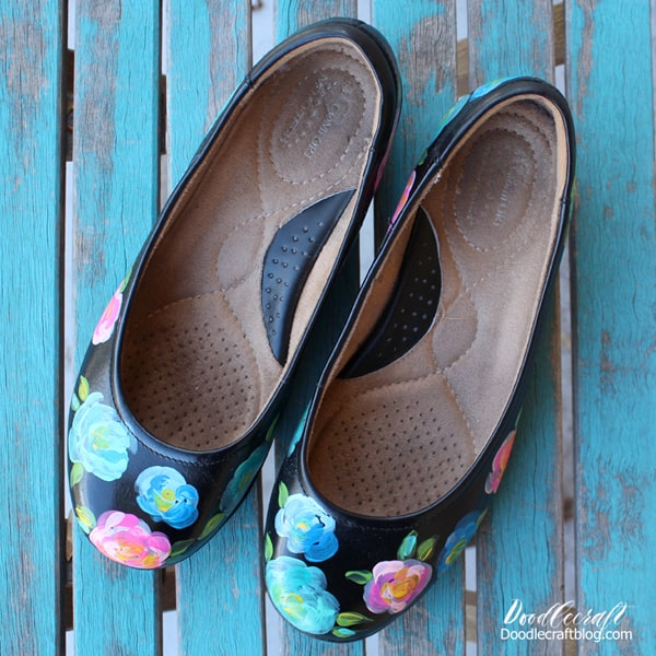 Floral painted upcycled flats diy