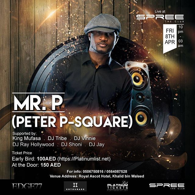 Peter Okoye announces he'll be performing alone at a show in Dubai