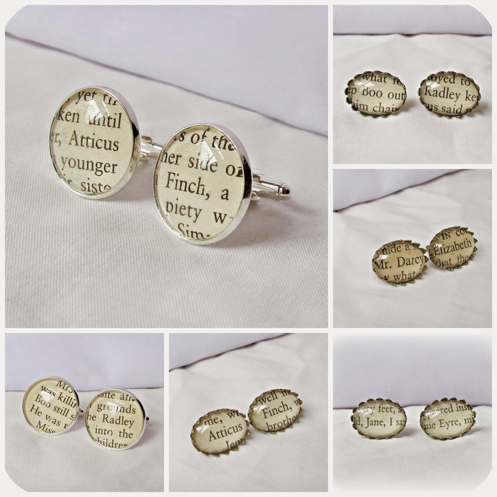 image literature jewellery cufflinks earrings two cheeky monkeys to kill a mockingbird pride and prejudice jane eyre mr darcy boo radley atticus finch