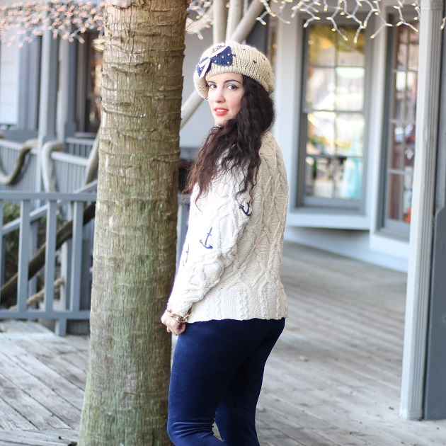 Blue and Gold Anchor Sweater