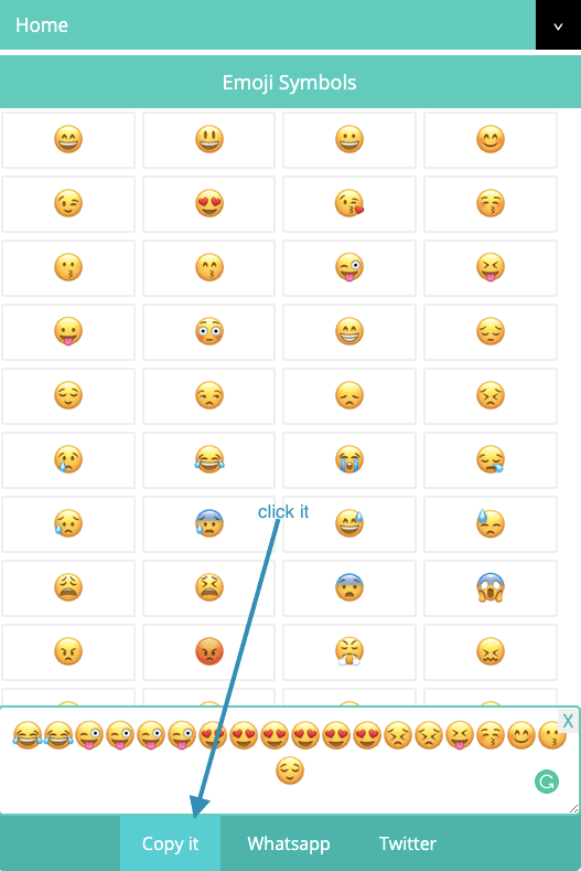 How to Copy multiple emojis and Text Symblos?