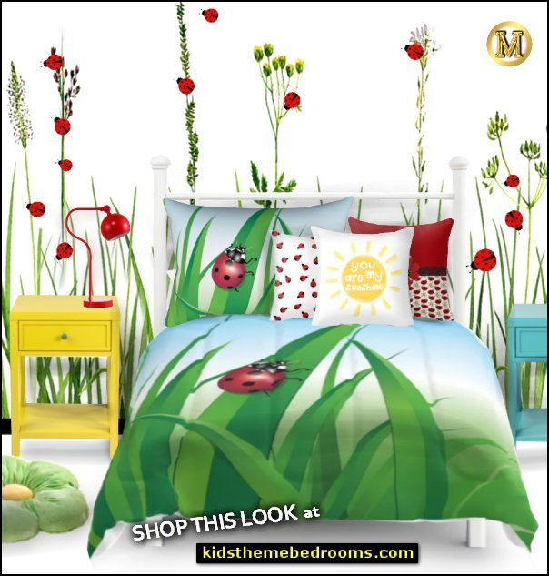 ladybug red ladybug bedding ladybug bedroom  ladybug pillows ladybug wall decals garden wall decals garden bedding