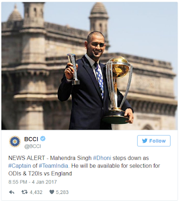 MS Dhoni quits as captain of ODI and T20 teams