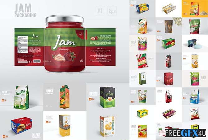 54 Vector Packaging Design Templates