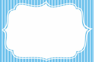 Blue Stripes and  Light Blue Free Printable Invitations, Labels or Cards.