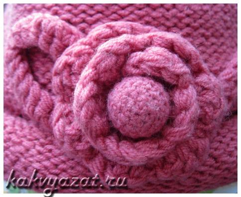 Оригинальный цветок-украшение для головного убора (розовый).