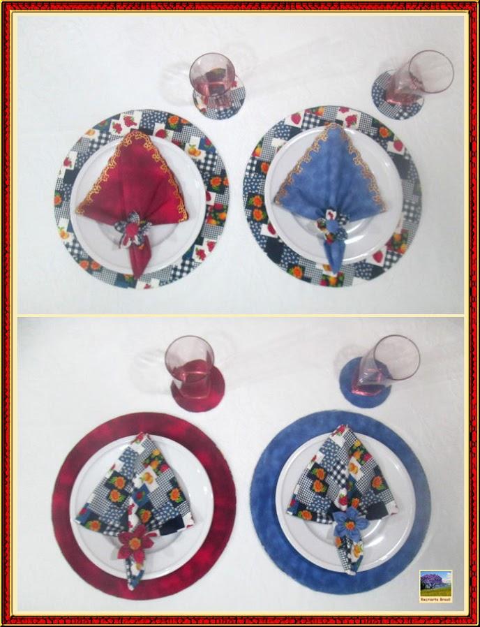 Conjunto de sousplat e porta copo forrados com tecido 1