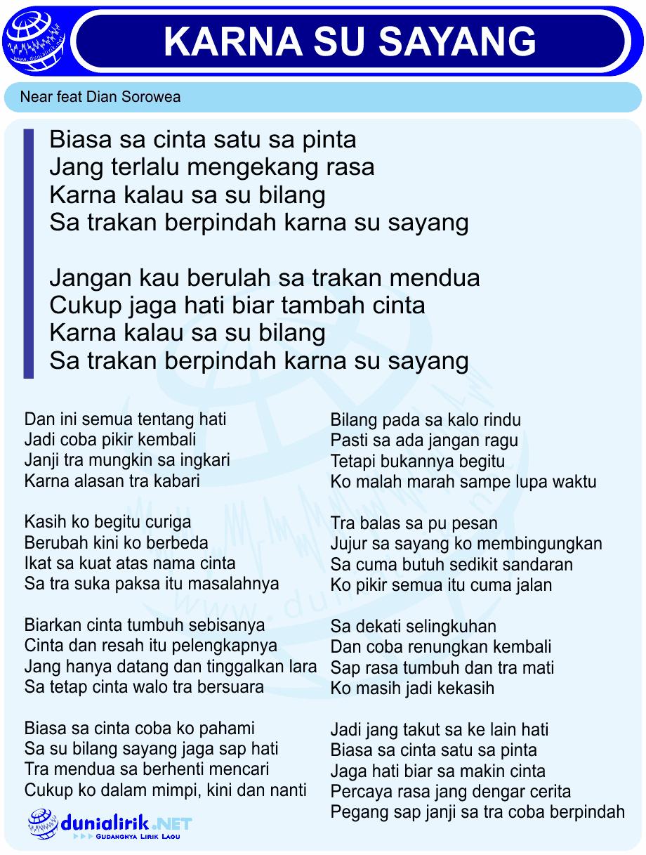 Lagu karna su sayang lirik