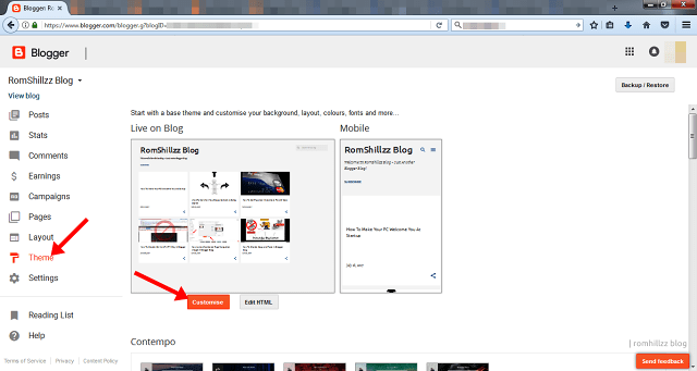 Themes option in Blogger