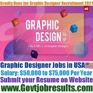 Gravity Haus Inc Graphic Designer Recruitment 2021-22