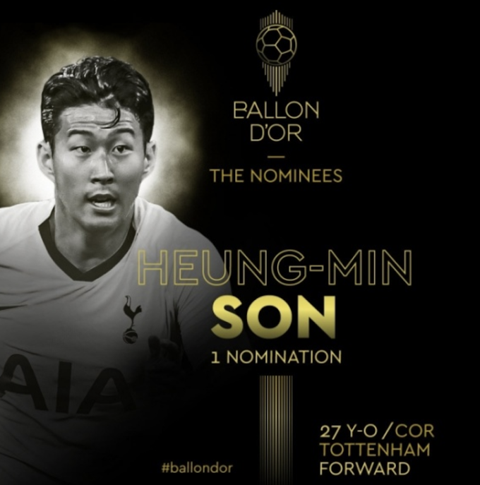 Son Heung-Min shortlisted for 2019 Ballon d'Or