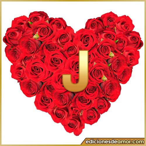 corazón de rosas con letra J