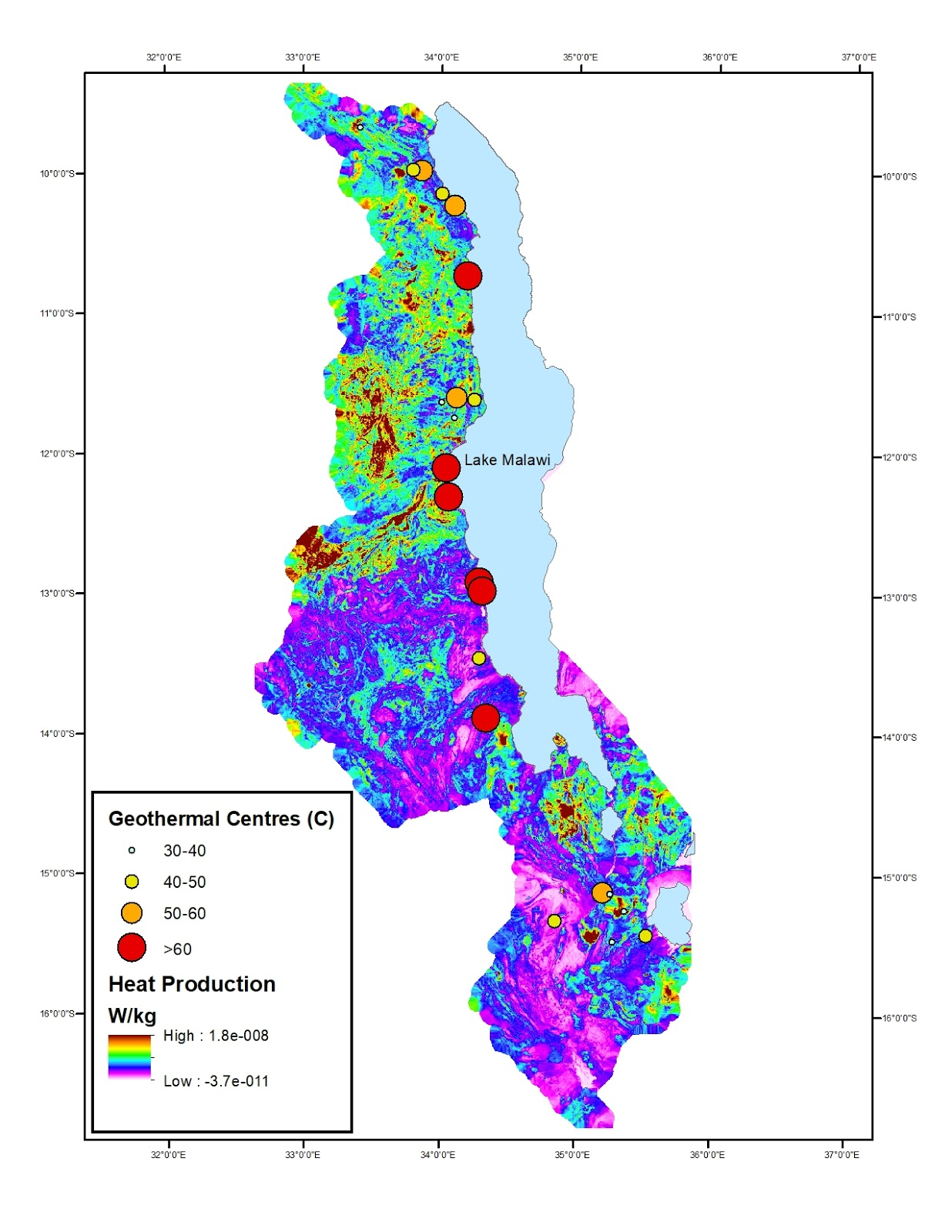 calculated heat production map and geothermal centres