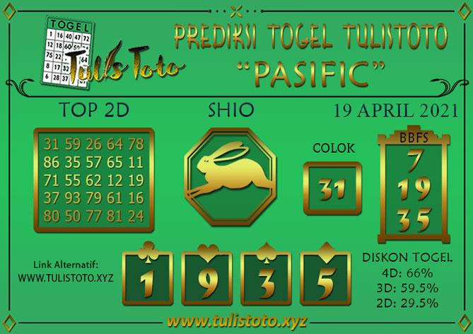 Prediksi Togel PASIFIC TULISTOTO 19 APRIL 2021