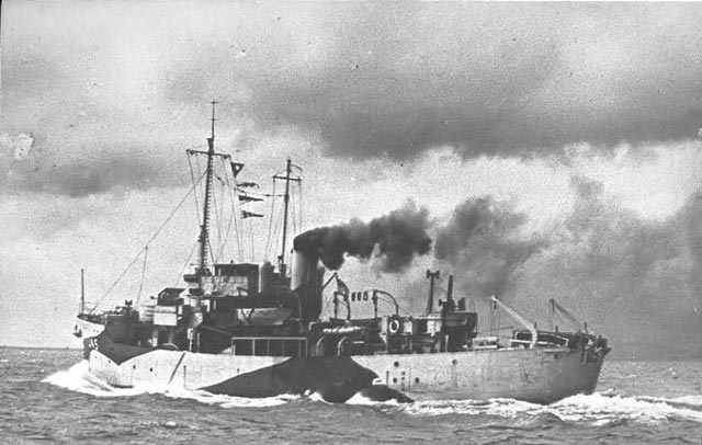 HMT Wallasea, sunk by an E-boat on 6 January 1944 worldwartwo.filminspector.com