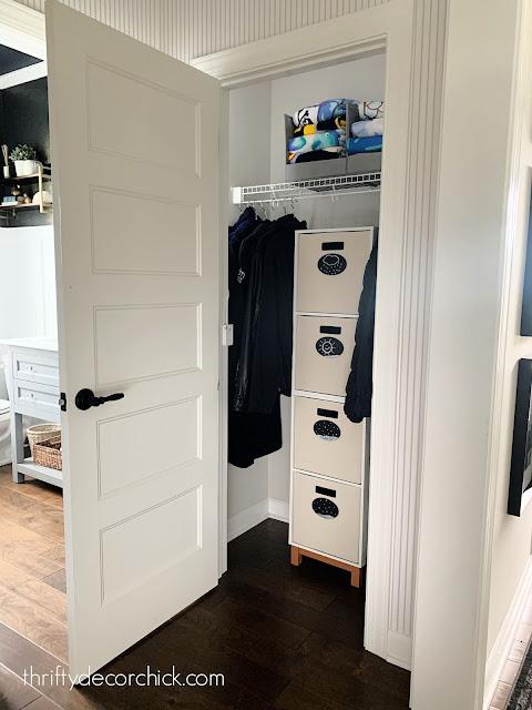 Organized coat closet cubbies