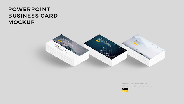 Free PowerPoint Layout Mockup with 3 Business Cards_Background Color